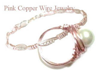 pink copper wire jewelry pin button