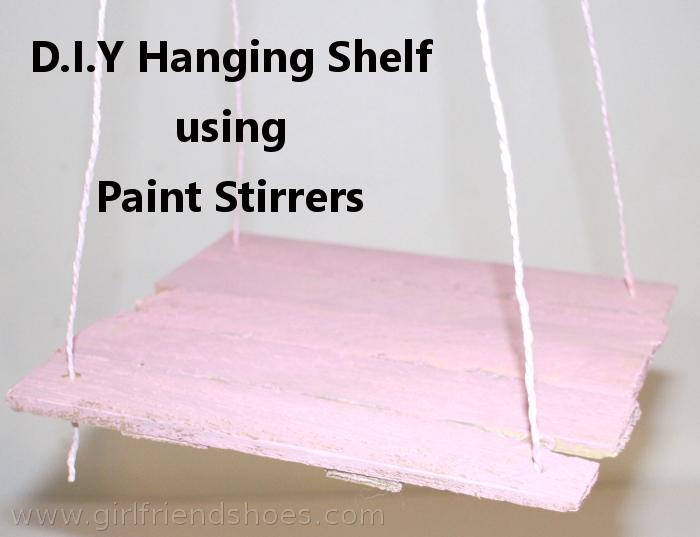 diy hanging shelf | paint stirrers