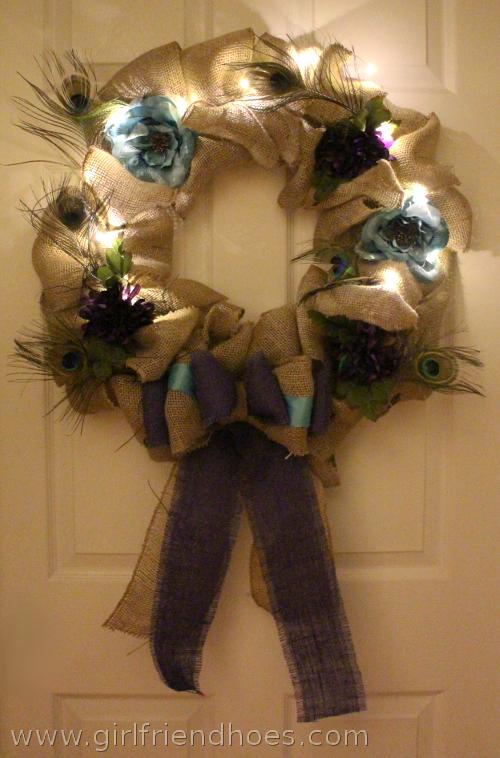 burlap wreath in dark