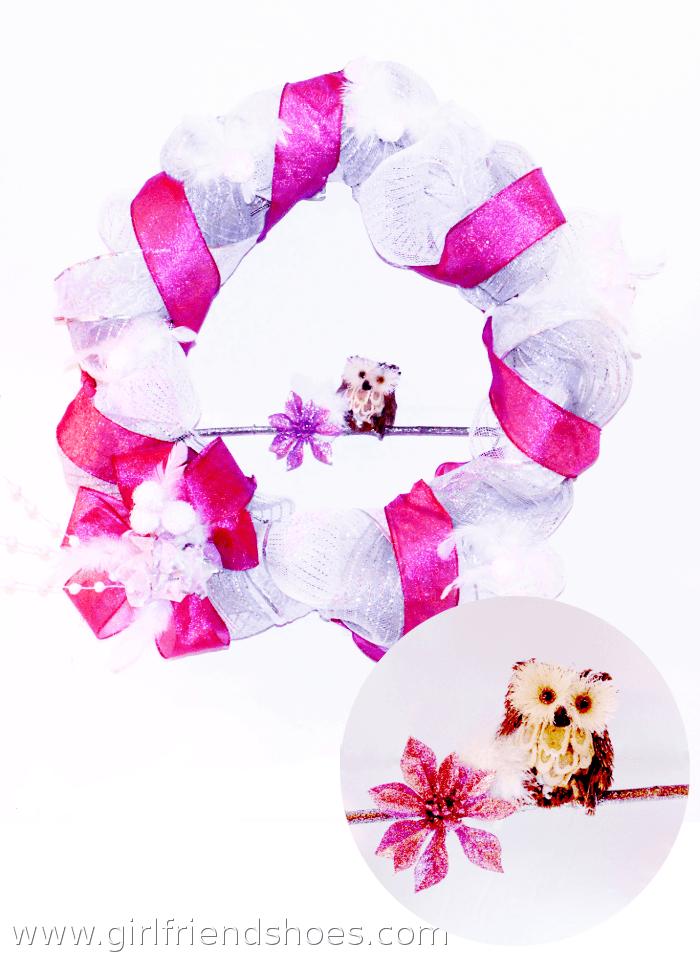 pink wreath mesh